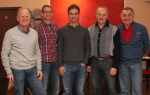 Der aktuelle Vorstand des RC 77. von links: Uwe Flad (2. Vorstand), Stefan Tomascheck (Schriftführer), Christian Riesenbeck (MTB Fachwart), Holger Siebenhüner (Kassier), Manfred Münch (1. Vorstand)